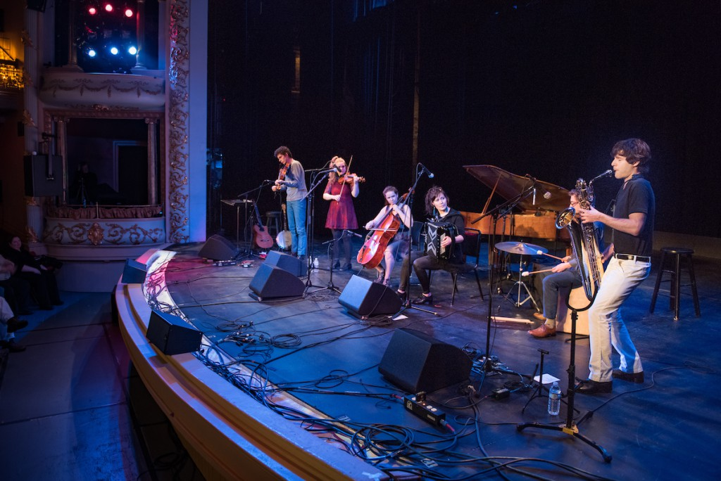 Night Tree opens for Solas at The Music Hall in Portsmouth NH, March 2017. Chris Overholser – violin & viola. Lily Honigberg – violin. McKinley James – cello. Sunniva Brynnel – accordion & voice. Julian Loida – percussion. Zach Mayer – bari and soprano sax.